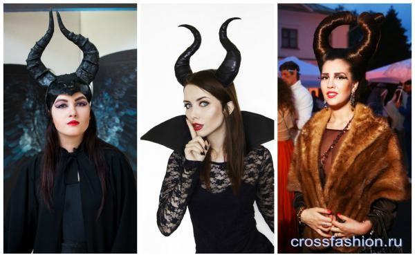Образ и костюм Малефисенты наряд прическа макияж