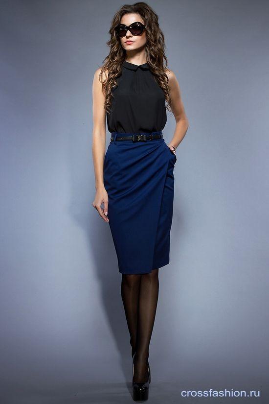 С чем носить синюю прямую юбку