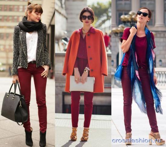 Что одевать с бордовыми штанами