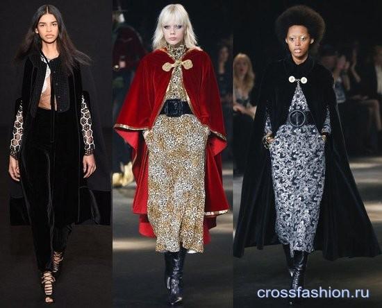 Модный бархат осень-зима 2016-2017 Пальто кейп