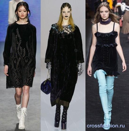 Модный бархат осень-зима 2016-2017 Платья