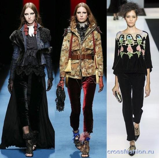 Модный бархат осень-зима 2016-2017 Брюки узкие