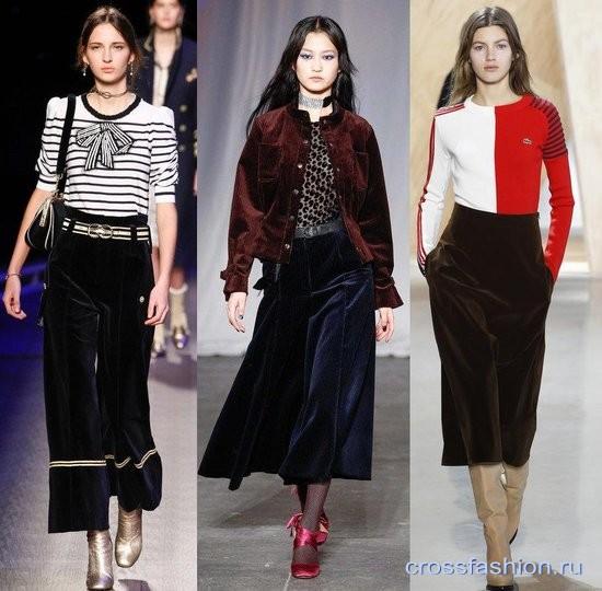 Модный бархат осень-зима 2016-2017 Брюки кюлоты
