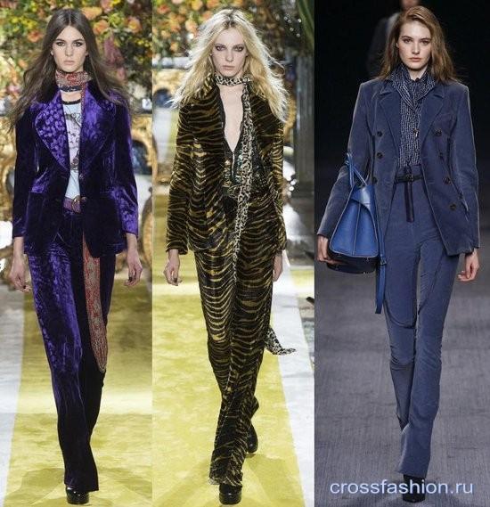 Модный бархат осень-зима 2016-2017 Брючный костюм