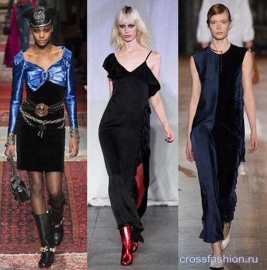 Модный бархат осень-зима 2016-2017 Комбинированные платья