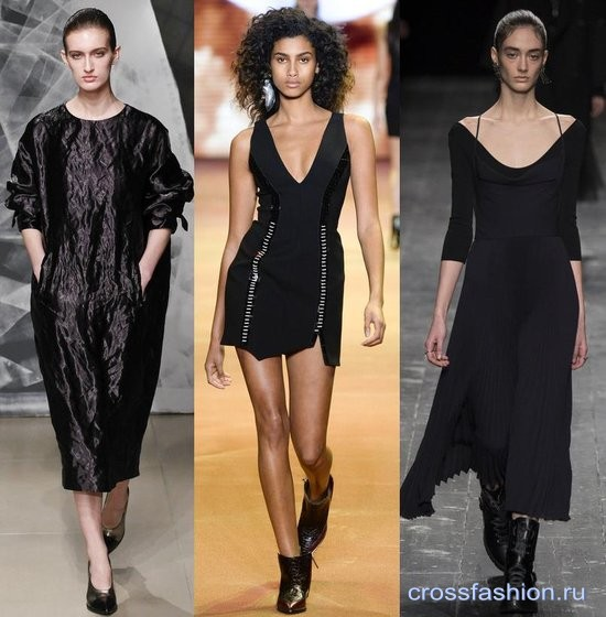 Модели модных черных платьев