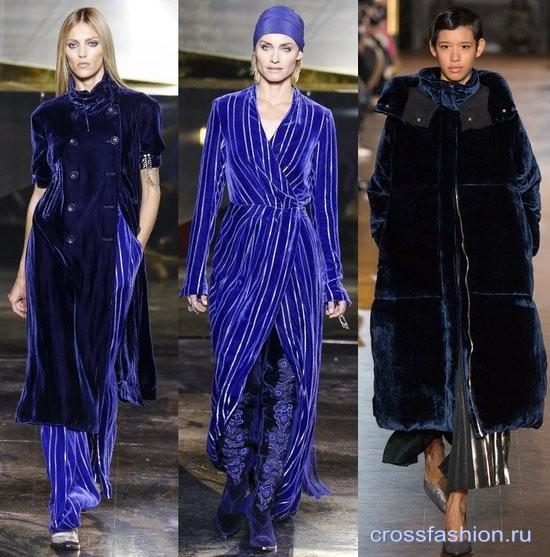 Модный бархат осень-зима 2016-2017 Пальто