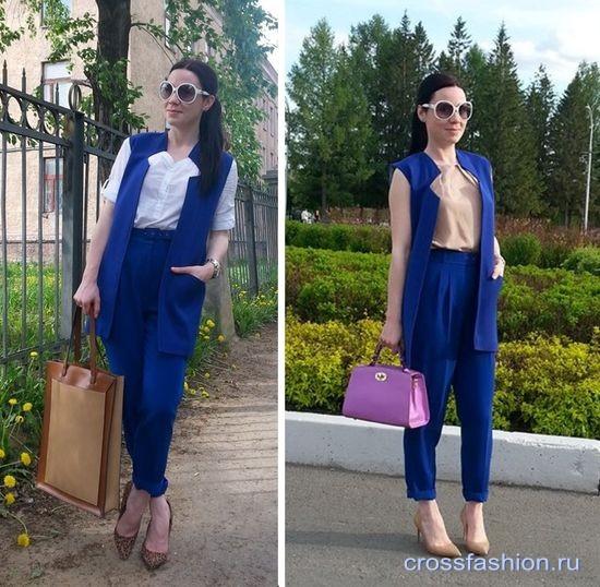 С чем носить синий жилет женские