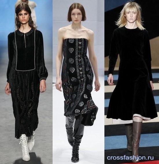 Модный бархат осень-зима 2016-2017 Платье