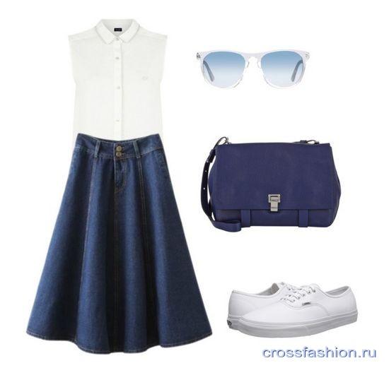 df24e806e56 Crossfashion Group - Джинсовая юбка-солнце, с чем носить? Советы ...